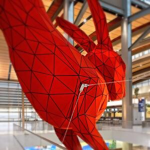Tensile cables provided the necessary support for a larger than life rabbit leaping into the baggage claim at the Sacramento Airport in California.